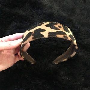 Faux fur leopard J.Crew headband